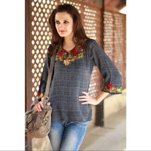 Ritu Agnihotri Blue Silk Embroidered Top Size L
